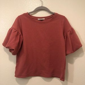 Green Envelope LA pink puff sleeve top size small